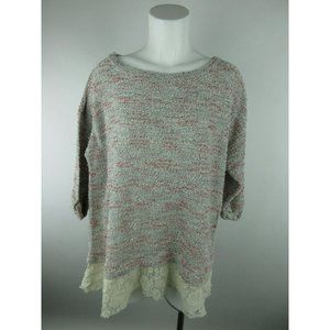 Style & co. Floral Lace Cuffed Crewneck Sweater